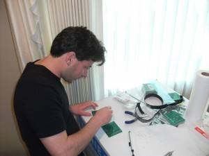 Josh with the OpenPCR thermal cycler boards
